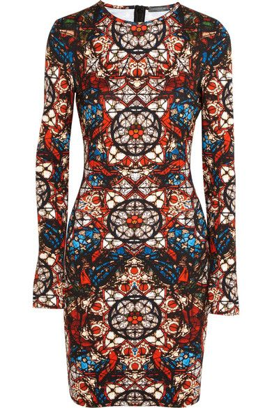 ALEXANDER MCQUEEN Stained glass-print stretch-jersey dress