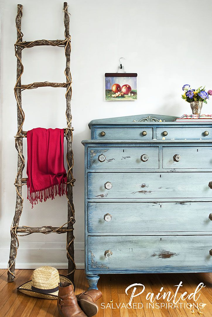 Over the years, this dresser has gotten a lot of use! I had mixed feelings about restyling it, but it was looking a little sad and tired and I was ready for a change. Old worn, torn, and faded denim was my inspiration for this before and after. What do you think?