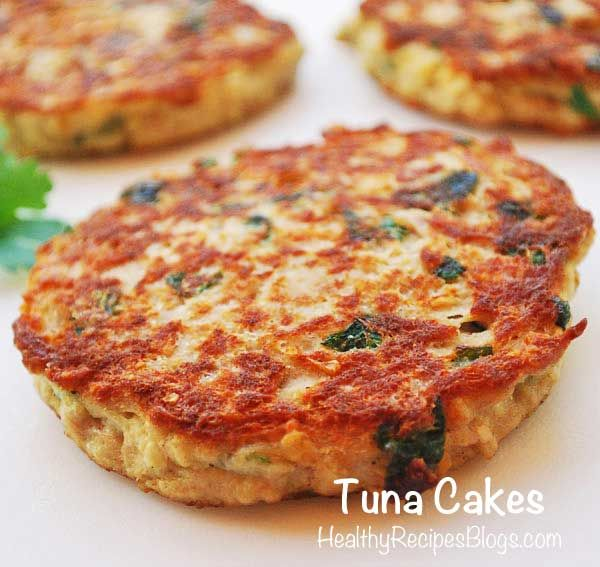 Healthy Tuna Cakes. I replaced the oatmeal with cooked quinoa. Delicious!