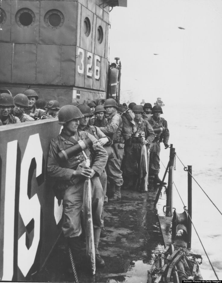US troops of the First Army on Landing Craft Infantry during the allied assault on the beaches of Normandy, World War Two, France, June 6, 1944. (Archive Photos/Getty Images)