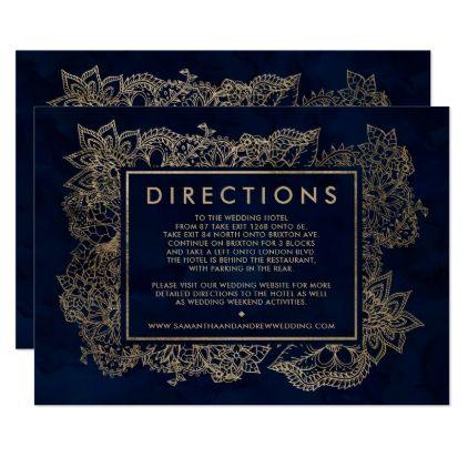 #elegant - #Floral gold navy blue watercolor wedding direction card