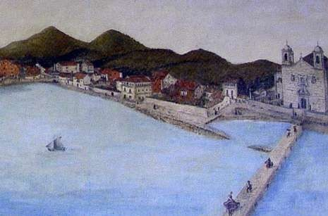 O mar chegaba á mesma igrexa de Santa Eulalia (1878).