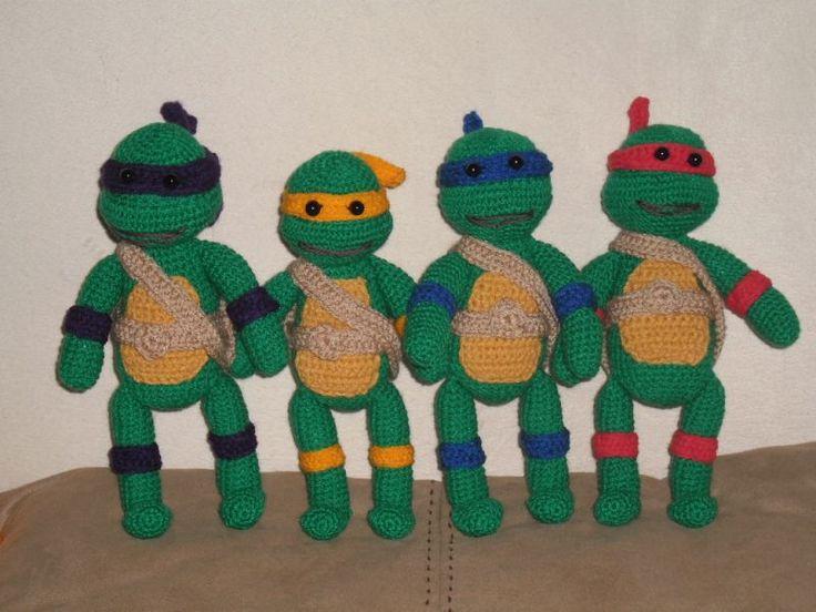 Wojownicze żółwie Ninja 22 cm - Szydełko Bogusi - Szydełkowe Czary Mary