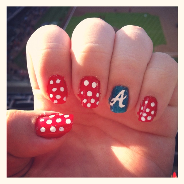 I wonder if I could find someone to do this...Atlanta Braves nails by Megan Kennedy ;)