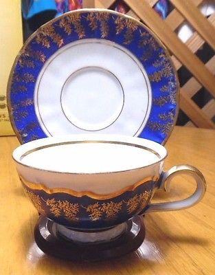 Vintage Kunst Kronach Footed Cobalt Cup & Saucer Made in Western Germany