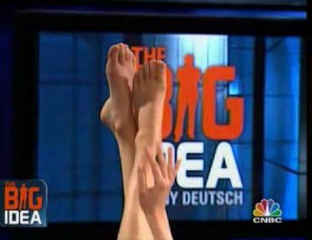 Foot and hand model Ellen Sirot showing her feet and hands on The Big Idea with Donny Deutsch.