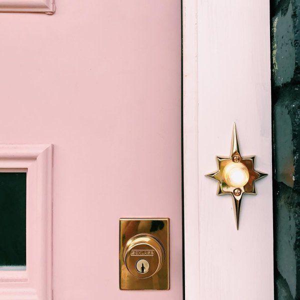Mid Century Star Doorbell Button Rejuvenation In 2020 Modern Door Hardware Doorbell Pink Front Door