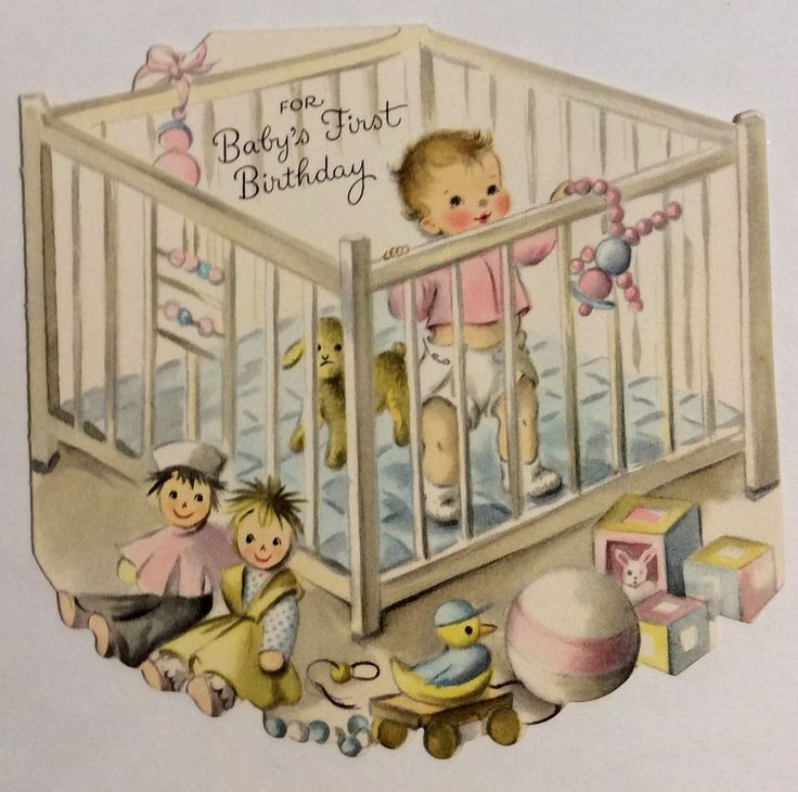 Adorable Baby Crib Toys Blocks Vintage Baby's 1st Birthday Greeting Card | Collectibles, Paper, Vintage Greeting Cards | eBay!