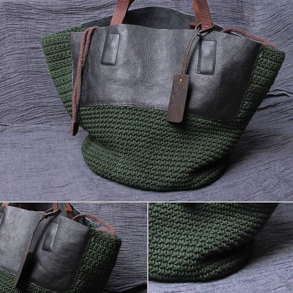 Love combination of leather and textured crochet on this shoulder bag