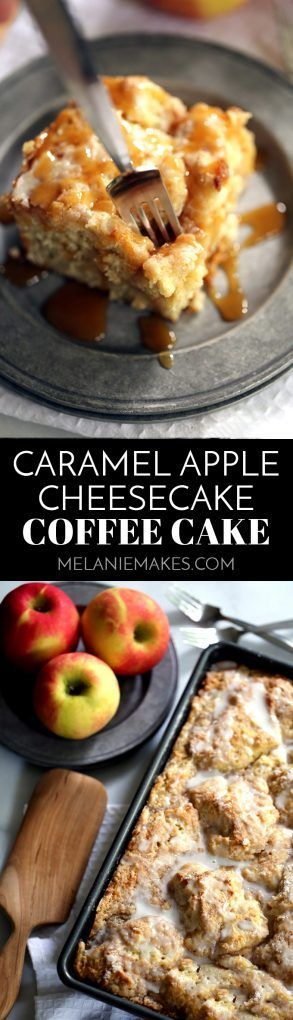 This Caramel Apple CheesecakeCoffee Cakeis the epitome of fall baked good perfection! A thick swirl of caramel cheesecake and apple pie fillingis sandwiched between two layers of light as air coffee cake. This breakfast treat is then topped with acrumbstreusel before being baked and then drizzled with a powdered sugar glaze. If you're feeling extra decadent, a few ribbons of caramel sauce are the perfect finishing touch.