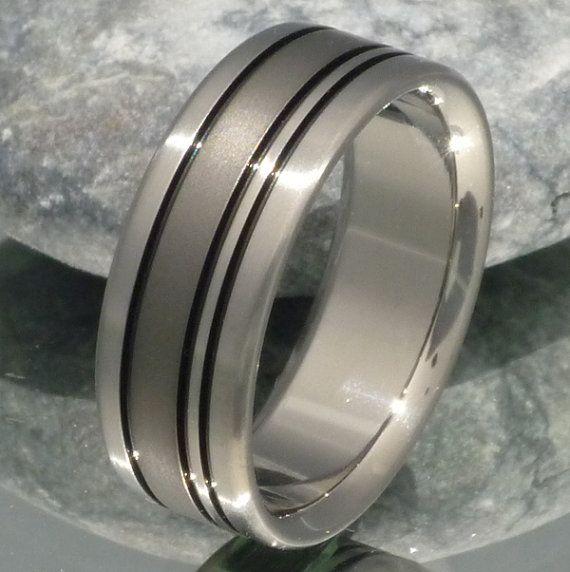 Black Titanium Wedding Band - bk15