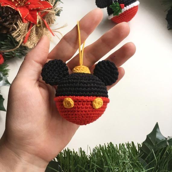 Disney bauble ball Mickey&Minnie Mouse crochet pattern Christmas ball Crochet Mickey tutorial Christmas Gift Minnie Mouse Bauble Decoration