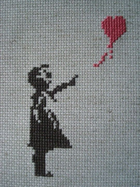 BANKSY inspired BALLOON GIRL counted cross stitch -