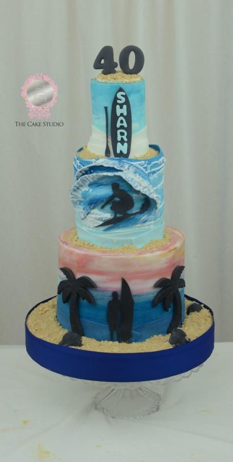 40th Birthday Surfing and Paddle Board Cake