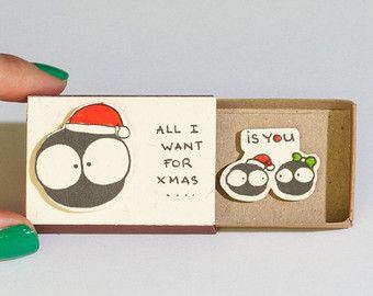 Romantische Weihnachten Karte / Erwachsene Urlaub Grusskarte / Liebe Weihnachten Matchbox / CM020