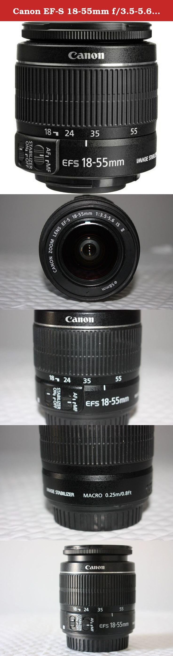 Canon EF-S 18-55mm f/3.5-5.6 IS II Standard Wide Angle Zoom Lens for Canon SLR Cameras. This Canon EF-S 18-55mm f/3.5-5.6 IS II Standard Wide Angle Zoom Lens for Canon SLR Cameras is perfectly fit Canon EOS Rebel XS, XSi, XT, XTi, T1i, T2i, T3, T3i, T4i, T5, T5i, 10D, 20D, 30D, 40D, 50D, 60D, 70D, 7D.