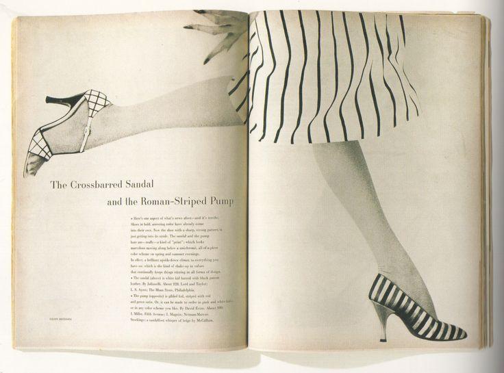 Harper's Bazaar, March 1954 'The Crossbarred Sandal...' (art direction Alexey Brodovitch, photography Lillian Bassman)
