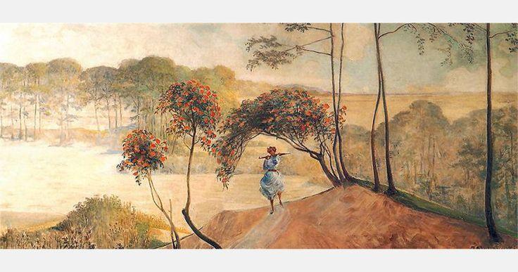 """Jacek Malczewski, """"Idź nad strumienie"""" (prawa część tryptyku), 1909-10, olej na tekturze, fot. Muzeum Narodowe w Warszawie"""