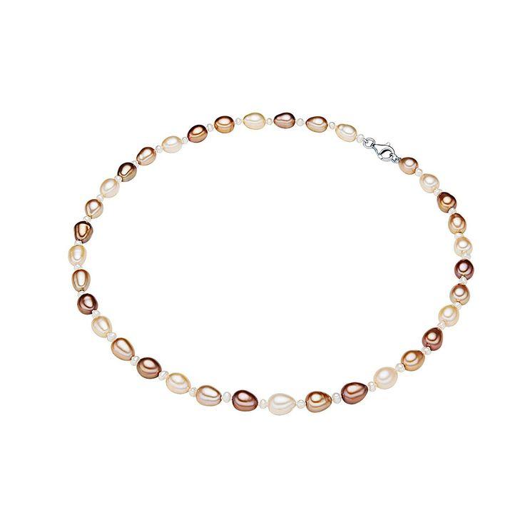 Colier Valero Pearls argint cu perle de cultură ivory, cafeniu, ciocolatiu