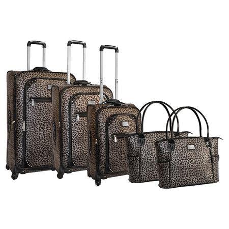 adrienne vittadini 5 piece isla luggage set in pewter
