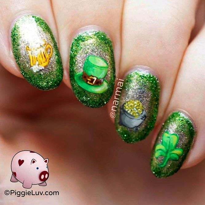 Sparkly St. Patrick's Day Inspired Nails #springnails #glitternails ★ We have collected many greenish and so lovely St …
