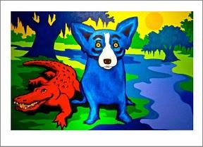 George Rodrigue's Blue Dog Art - Sha, dat blue dog down on da bayou!