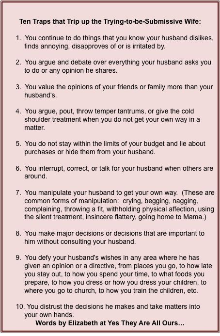 We had a great discussion about this post here https://www.reddit.com/r/RedPillWives/comments/4d4y4f/ten_traps_that_trip_up_the_tryingtobesubmissive/!