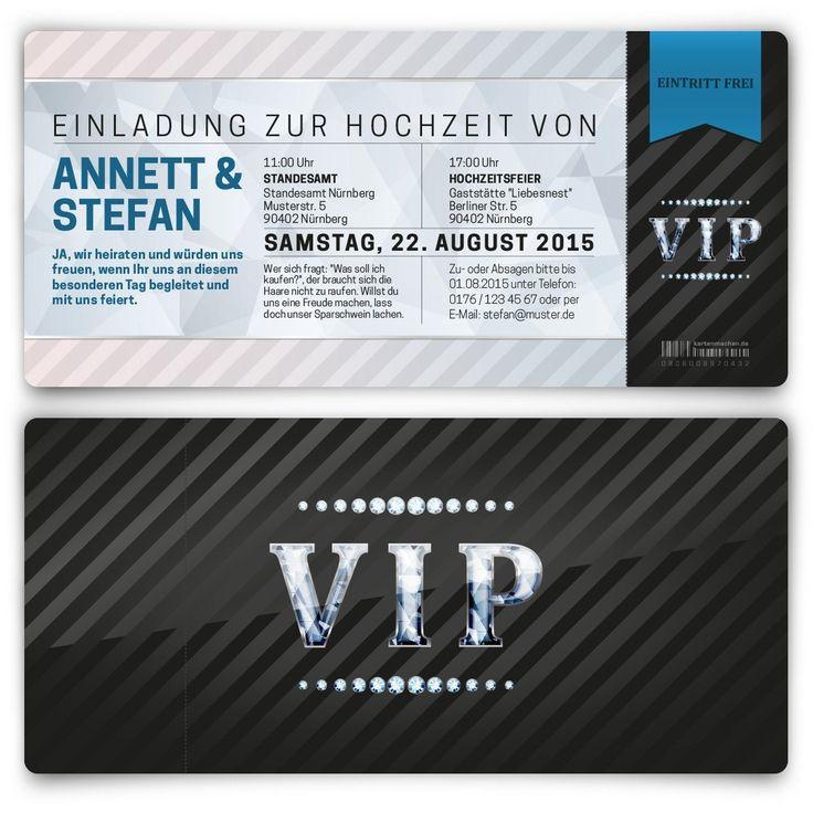 Einladungskarten Zur Hochzeit (100 Stück) Als Eintrittskarte VIP Ticket  Einladung UV Lack: