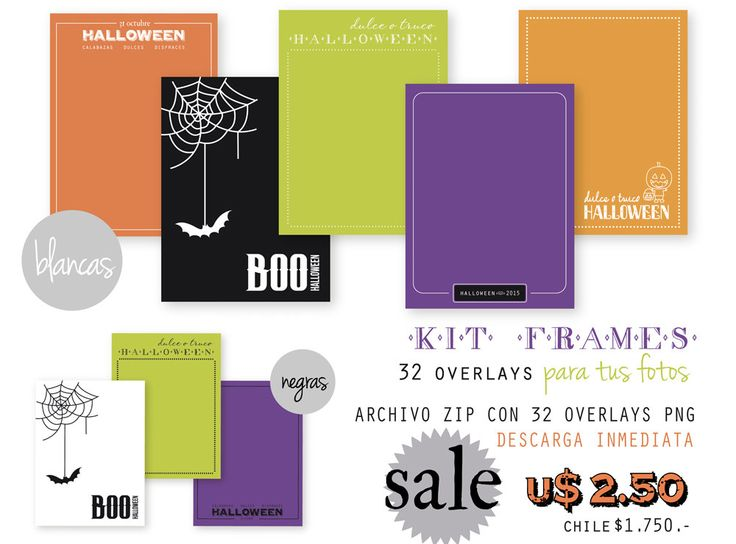 Photos OVERLAYS for Halloween - Kit Frames - INSTANT DOWNLOAD! - pinned by pin4etsy.com