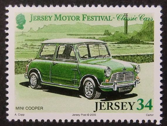 11217 - Framed Postage Stamp Art - Mini Cooper - Classic Cars - Car