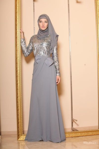 ❤ hijab style for evening gown