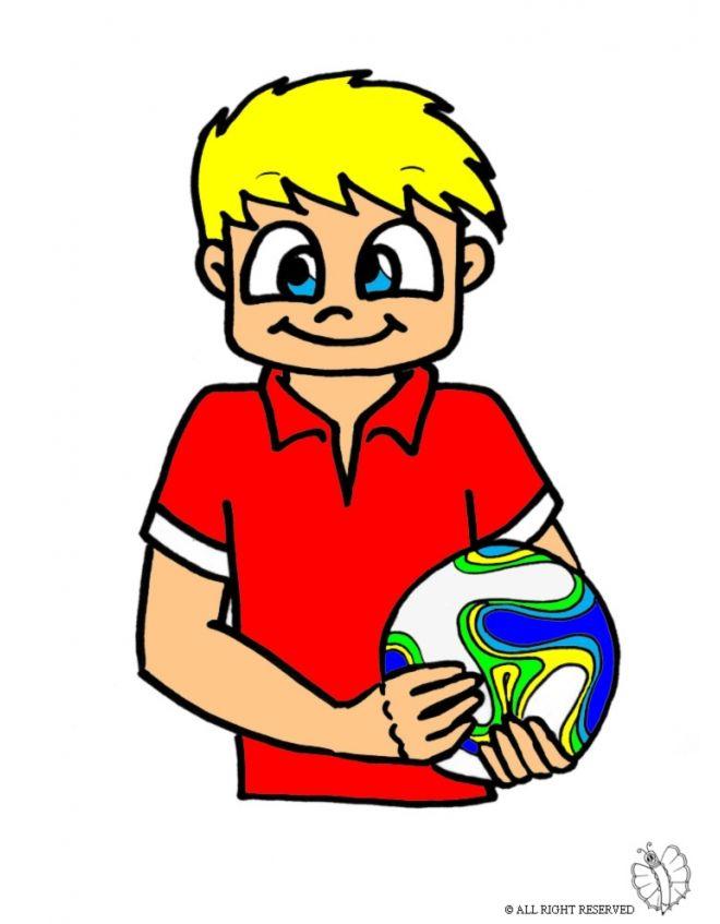Disegno: Bambino con Pallone. Disegni colorati per bambini da stampare gratis. Puoi stampare, scaricare il disegno o guardare gli altri disegni simili a questo. disegnidacolorareonline.com.