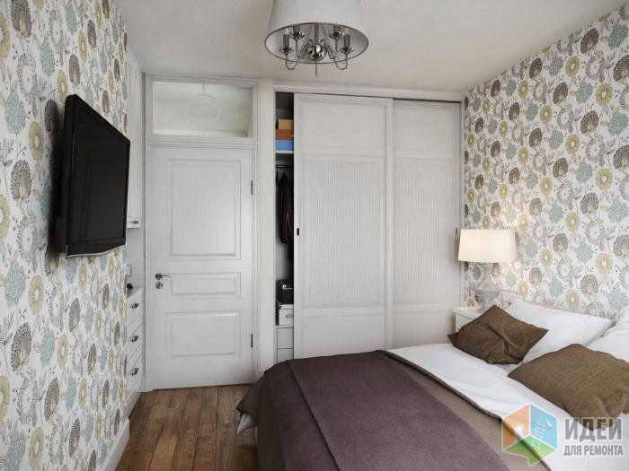Интерьер спальни, белый шкаф купе в спальне, телевизор в спальне