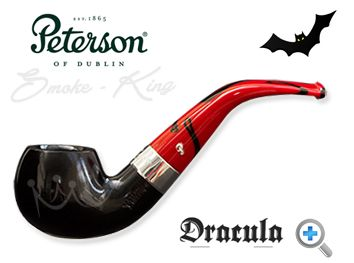 When the Dracula 03 pipe by Peterson was released in 2011 they sold out in the United Kingdom within hours. You really can see why. Sitting beautifully between the flawless black ebony bowl and the striking red and black marbled fishtail mouthpiece, there is a perfectly proportioned nickel band with the Dracula name etched on to it. Peterson has entered the dark side but the Dracula pipe is a handsome, well-balanced piece of art.