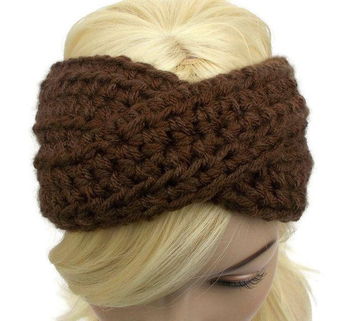 Turban Headband, Crochet Headband, Brown Headband, Winter Headband, Ear Warmer Headband, Womens Headband, Knit Turban Headband by foreverandrea on Etsy