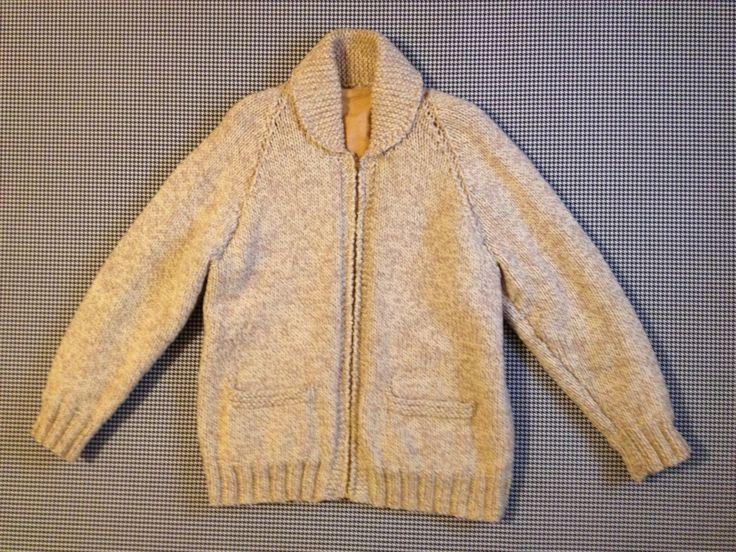 1960's, hand knit, flannel lined, wool, Cowichan sweater in oatmeal, Men size Large by brinkdwellers on Etsy