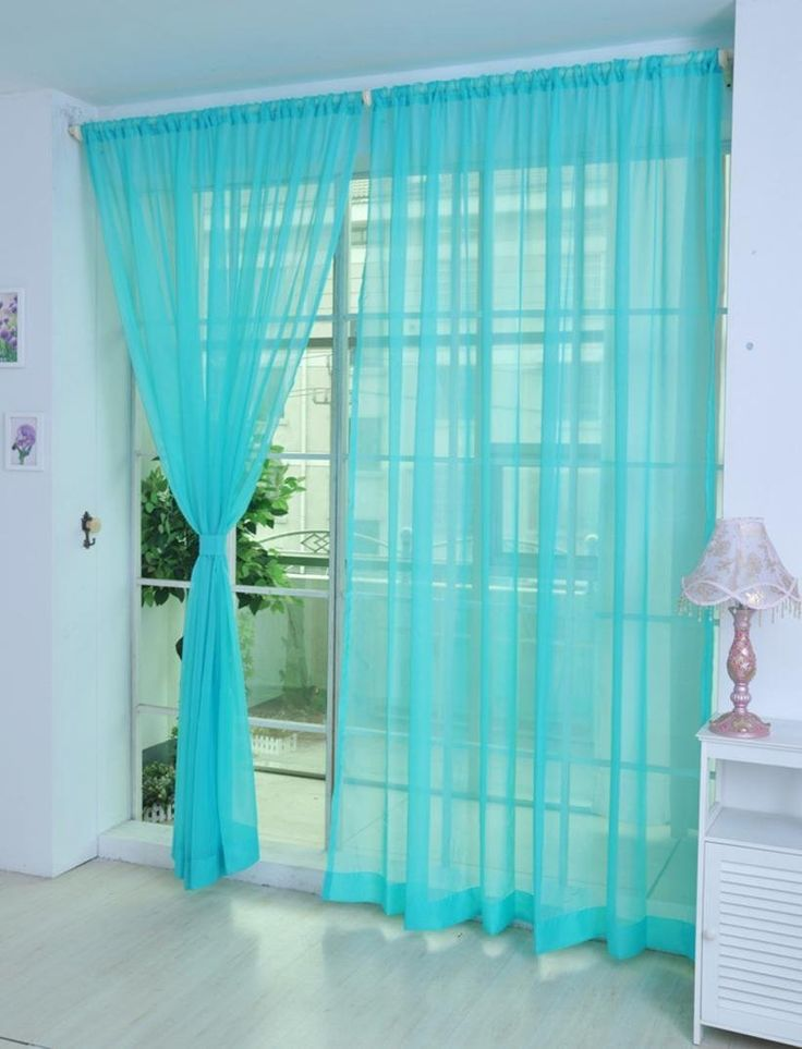 Creazy_¡ 2 PCS Pure Color Tulle Door Window Curtain Drape Panel Sheer Scarf Valances (Blue) -- Startling review available here  : DIY : Do It Yourself Today