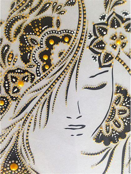 Купить или заказать картина на стекле - Девушка-загадка. в интернет-магазине на Ярмарке Мастеров. Картина с изображением силуэта девушки выполнена с использованием двух техник: контурного вырезания и точечной росписи. Рисунок в технике точечной росписи выполнен на стекле акриловыми контурами золотого цвета. Рисунок нанесен ровными точками. Сам силуэт девушки вырезан на бумаге. Эта картина станет прекрасным дополнением интерьера или подарком любимому человеку.
