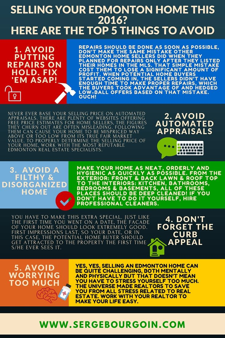 INFOGRAPHIC: HERE ARE THE TOP 5 THINGS TO AVOID WHEN SELLING YOUR EDMONTON PROPERTY  #homesforsaleedmonton #edmontonrealestate  #edmontonproperties  #edmontonhousesforsale #sergebourgoin