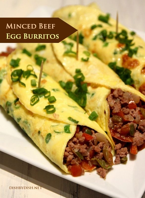 Minced Beef Egg Burritos 1) 5 eggs, beaten 2) 1/2 cup of milk 3) 1/4 cup of water 4) 2 spring onions, sliced thinly 5) 500g of minced beef (or chicken, pork or lamb) 6) 1 small red bell pepper, seeded and diced 7) 1 small green bell pepper, seeded and diced 8) 1 large onion, peeled and diced 9) 2 garlic cloves, minced 10) 1 teaspoon meat seasoning 11) Salt & pepper to taste