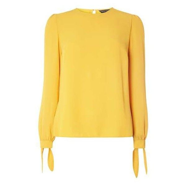 Dorothy Perkins Ochre Long Sleeve Cuff Top (£28) ❤ liked on Polyvore featuring tops, yellow long sleeve top, long sleeve tops, dorothy perkins and yellow top