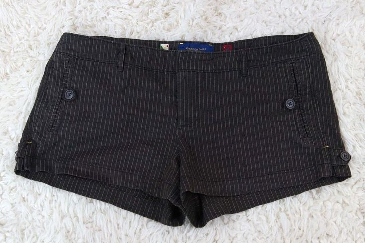 American Eagle Outfitters Trouser Short Shorts Brown Pinstripe Flat Front Sz 12  #AmericanEagleOutfitters #MiniShortShorts