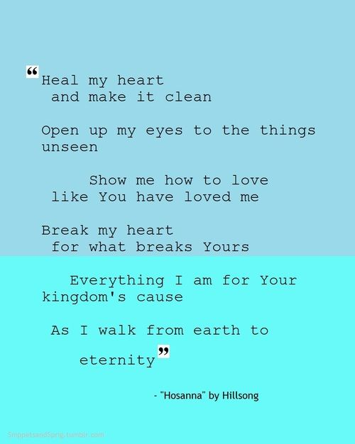"Some song lyrics of ""Hosanna"" by Hillsong."
