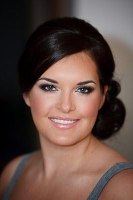 Bridal wedding makeup. Smokey eye, blushing cheeks, pink lips