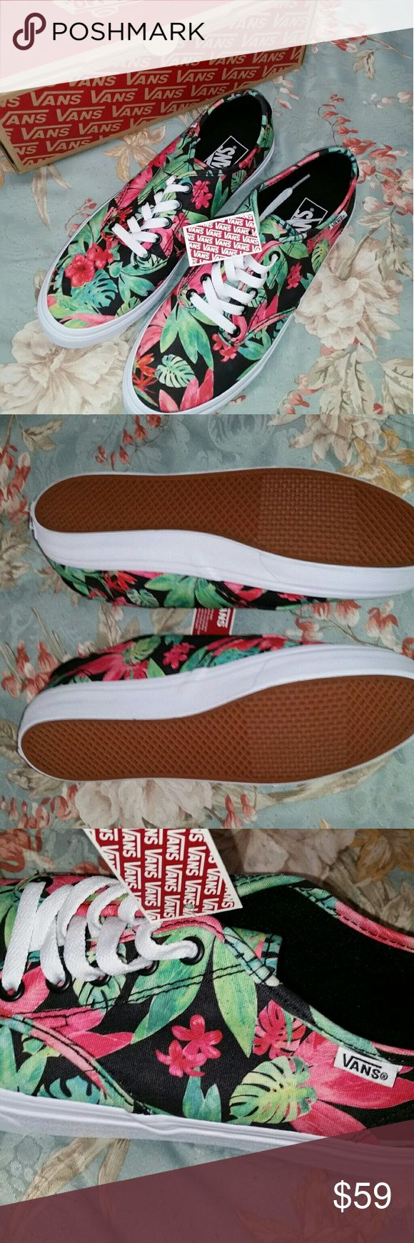 """***BRAND NEW*** Vans (Tropical Floral pattern) Never before worn """"Camden Tropical Floral Vans"""" ... width: M ... size: 9.5 Women's U.S. Buy more than 1 item from me ⚌ discount OR freebies Will ship multiple purchases together, just ask Don't like the price? Msg me Vans Shoes Sneakers"""