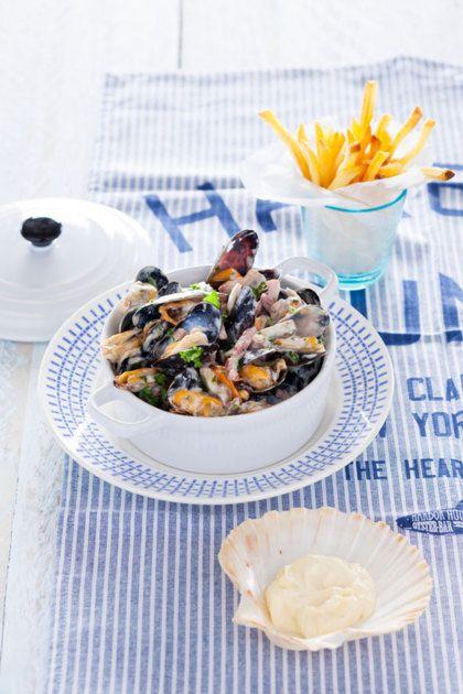 Recept voor Normandische mosselen met spekjes, champignons en room