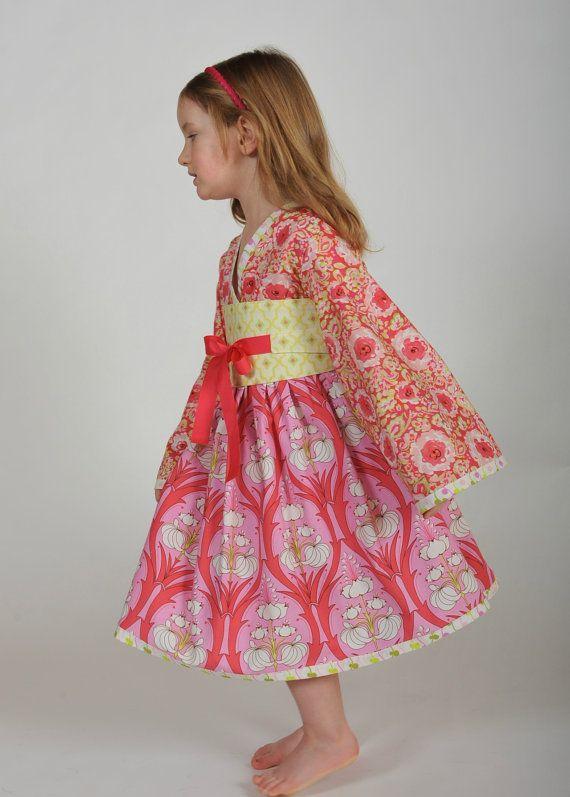 Girl's Kimono Dress, Girls Clothing, Kimonos, Party Dress, Baby Girl dress, Toddler dress, Girl Dresses, pink dress, size 2T 3T 4T 5 6 7 8