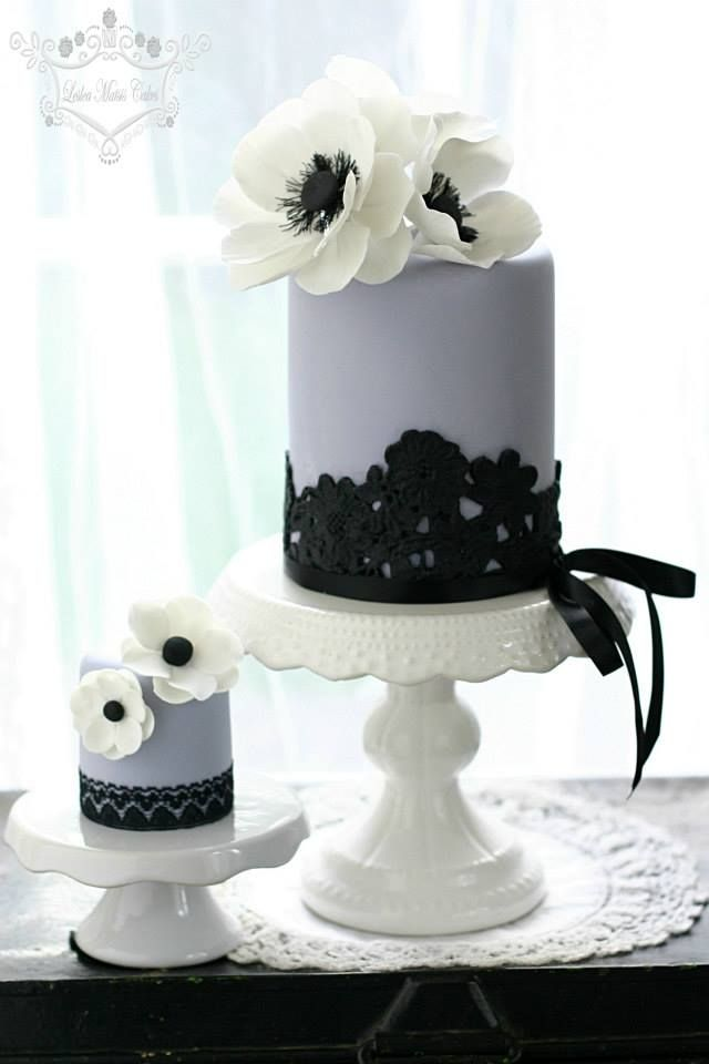 Because little cakes that are beautiful with lace and flowers are amazing.