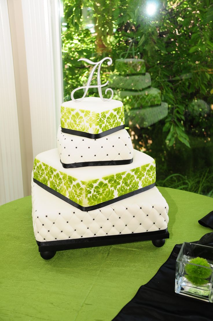 square black and white wedding cakes pictures%0A Lime green  u     black wedding cake   Square wedding cakes lime green   Lime  green  u