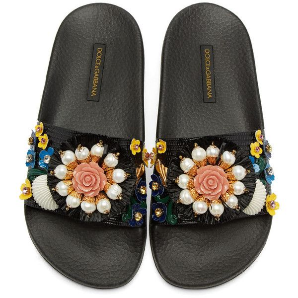 Dolce and Gabbana Black Flower Slide Sandals ($945) ❤ liked on Polyvore featuring shoes, sandals, slip on shoes, black sandals, black slide sandals, leather slip-on shoes and multi colored sandals